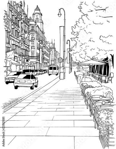 漫画風ペン画イラスト 街並 - 231621081