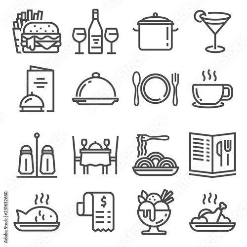 Vector Restaurant icons set on white background. © skarin