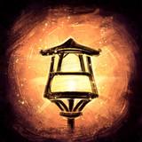 Lantern in Oriental style on an orange background - 231633295