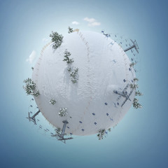 3d illustration of the winter planet with ski resort, slope, and ski lift. Creative ski winter background isolated on white. Baby planet.Winter activities banner design. Winter concept.
