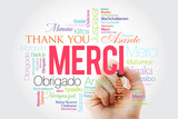 Merci (Thank You in French) Word Cloud with marker, all languages - 231636691