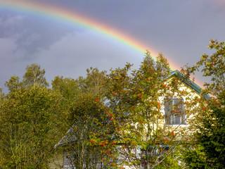 Autumn rainbow in the village © evgenfagot