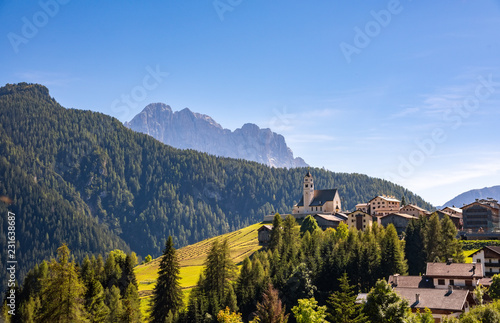 Typical Village landscape in Dolomites, Italy