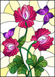 Illustration in stained glass style with bouquet of pink  clover and purple butterflies on a yellow background