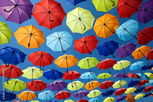 Colorful umbrellas background. Street decoration.