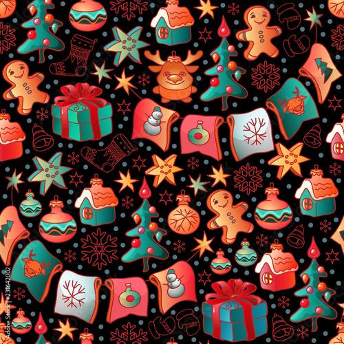 fototapeta na ścianę Cute Christmas seamless pattern with toys. Vector.