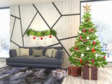 Christmas tree with decorations in the living room. 3d illustration - 231646404
