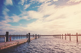Vintage stylized picture of an empty marina in Sassnitz at sunset, Germany. - 231647260