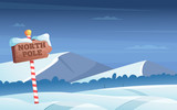 North pole road sign. Snowy background with snow trees night woods wonderland winter holidays vector cartoon illustration. North pole road snow, christmas holiday winter - 231648214