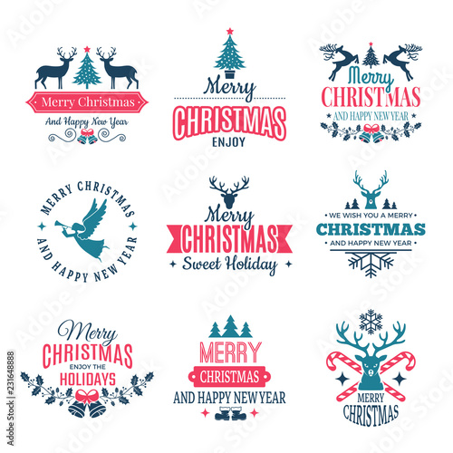 holiday labels borders badges and vintage new year stamps vector wishes with your