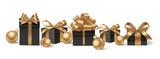 Set of decorative black gift boxes with golden bows and gold Christmas balls isolated on white for New Year Sale design. Vector illustration