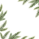 Watercolor vector Christmas frame with fir branches and place for text. - 231651019