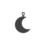Moon Christmas toy vector icon. filled flat sign for mobile concept and web design. Crescent Xmas bauble simple solid icon. Symbol, logo illustration. Pixel perfect vector graphics