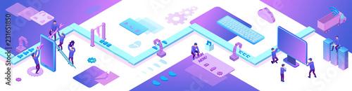Aplikacja mobilna i tworzenie stron internetowych 3d izometryczny koncept, ilustracja oprogramowania do zarządzania oprogramowaniem, programista w aplikacji do budowy przenośnika, modne fioletowe tło, sztandar strony docelowej
