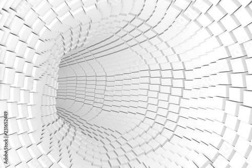 black and white abstract background with tunnel 3D illustration - 231652449