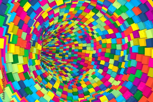 colorful tunnel abstract background with cube 3D illustration - 231653462