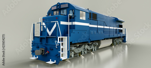 Modern blue diesel railway locomotive with great power and strength