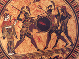 Detail from an old historical greek paint. Mythical heroes and gods fighting on it - 231654407