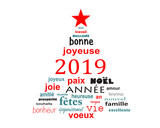 2019 new year french word cloud greeting card in the shape of a christmas tree - 231657471