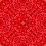 Red seamless kaleidoscope pattern background - abstract ethnic vector wallpaper graphic with triangles - 231657614