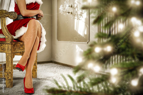 Leinwandbild Motiv Santa Claus woman legs and christmas tree
