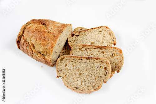 Foto Murales slices of bread on white background
