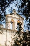 Facciata di chiesa Cattolica con campanile vista attraverso un albero - 231671862