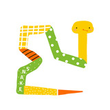 Cute little snake. Childish graphic. Vector hand drawn illustration. - 231676258