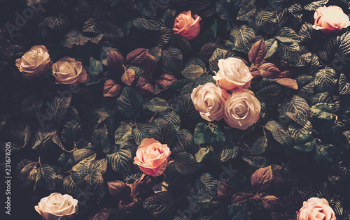 Artificial Flowers Wall for Background in vintage style - 231678205