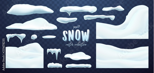 Vector collection of snow caps, pile, icicles, isolated on background, transparent, ice, snowball and snowdrift. 3d Winter decorations, Christmas, snow texture, white elements, holiday design.