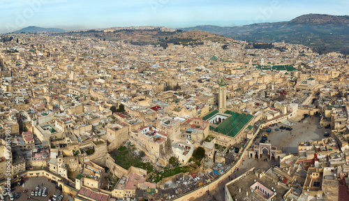 Aerial view of Medina in Fes and Medersa