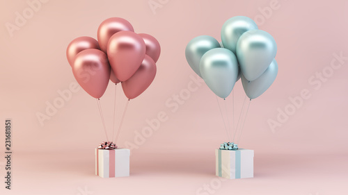 pink and blue balloons with presents