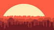 Horizontal illustration of downtown part of city at sunset. - 231688018