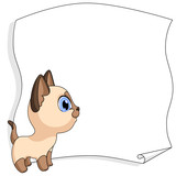 9 Siamese little cat stands place for text. vector illustration