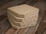 Pizza boxes on vintage wooden planks. Mock up. - 231690664
