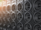 Audio  sound speaker system. Black loudspeakers in a row with DOF effect. Music club background. - 231690812