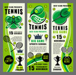 Racket, ball and tennis trophy banners