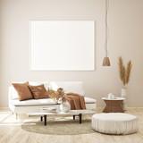 mock up poster frame in modern interior background, Scandinavian style, 3D render, 3D illustration - 231693816