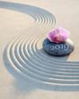 Leinwanddruck Bild - Orchidee auf Stein im Sand 2019