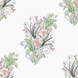 Floral gentle pattern. Pattern from a pattern with pastel flowers, curls and sprigs with leaves. - 231700629
