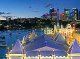 SYDNEY - AGUST 2018: Sydney Luna Park and skyline, aerial view at night - 231700881