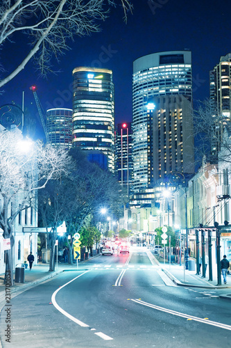 fototapeta na ścianę SYDNEY - AUGUST 17, 2018: Night view of The Rocks district. This district is a meeting point for young people