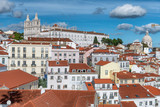 Aerial view of Lisbon skyline with Pantheon and Sao Vicente Church on a beautiful sunny day with clouds, Portugal - 231702054