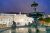 LISBON - OCTOBER 30, 2018: Tourists at night in Rossio Square. Lisbon attracts 3 million tourists annually - 231702214