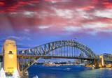 Night view of Sydney Harbor Bridge from Luna Park Ferris Wheel at sunset, Australia - 231702237