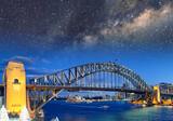 Night view with stars of Sydney Harbor Bridge from Luna Park Ferris Wheel, Australia - 231702427