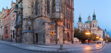 Prague - The Old Town hall, Orloj, Staromestske square and St. Nicholas church at dusk. - 231703405
