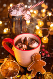 Cup with hot chocolate and marshmallows on old wooden table. - 231704094