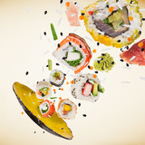 Pieces of delicious japanese sushi frozen in the air. - 231704480