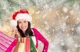 Beautiful Happy Girl. Christmas shopping. - 231704627
